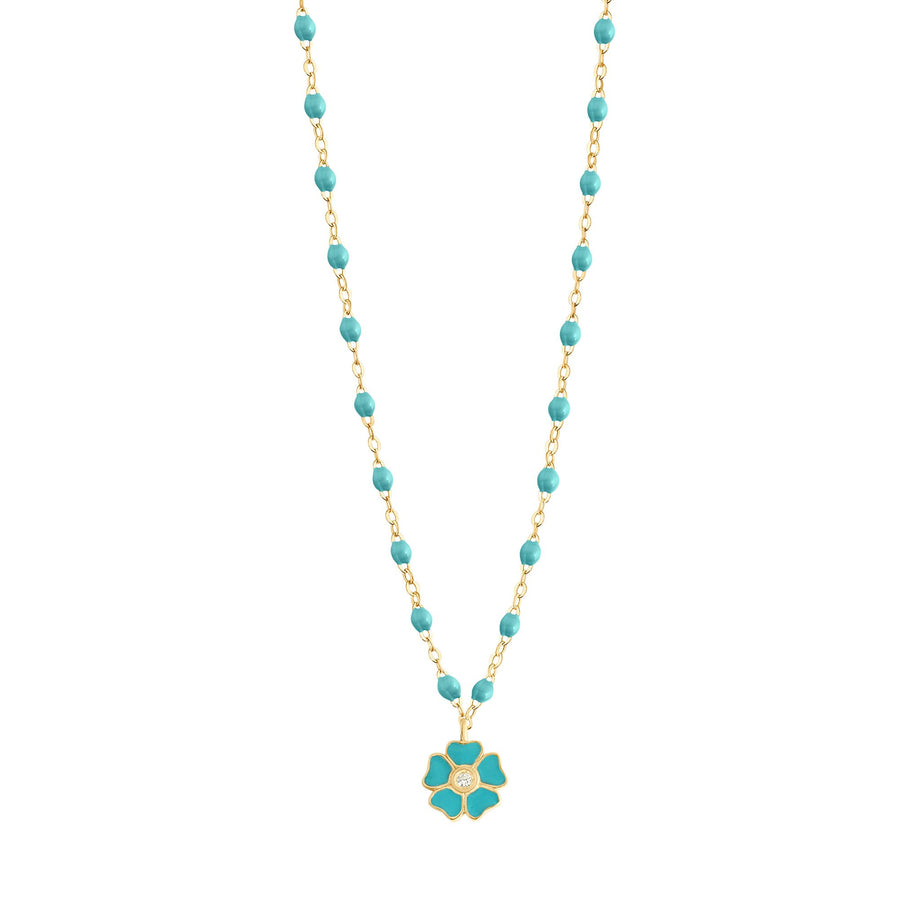 Gigi Clozeau - Flower Classic Gigi Turquoise Green diamond necklace, Yellow Gold, 16.5