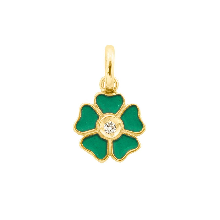 Gigi Clozeau - Flower Emerald Diamond Pendant, Yellow Gold