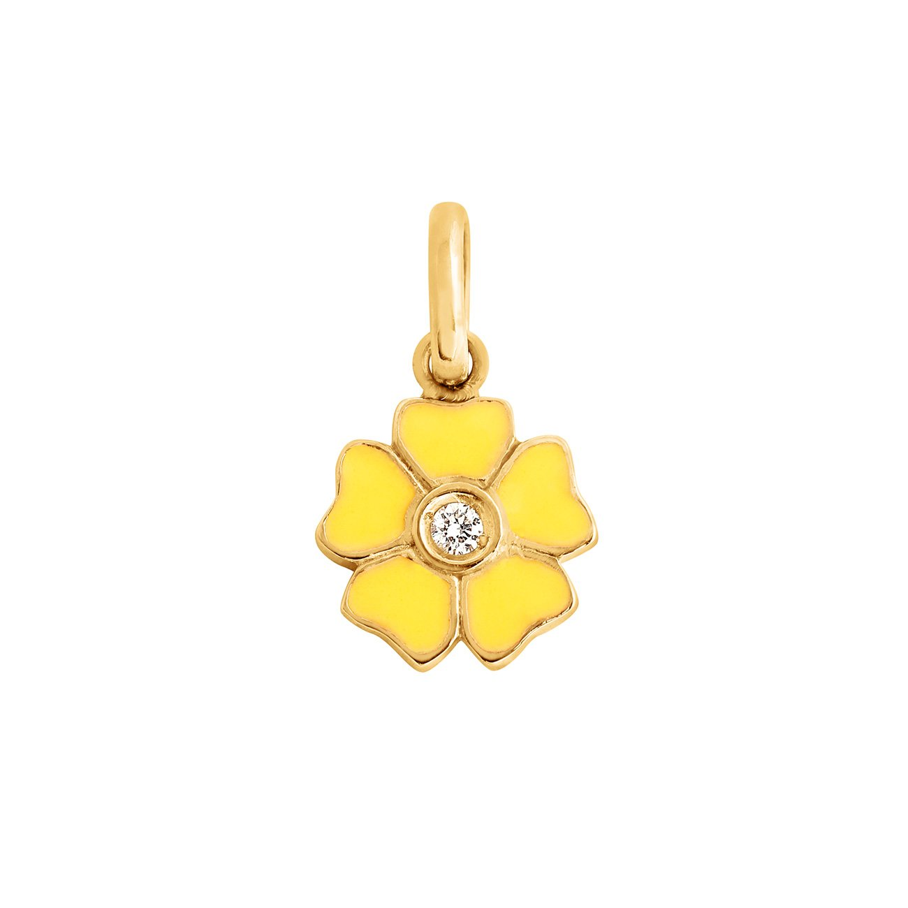 Gigi Clozeau - Flower Lemon diamond pendant, Yellow Gold