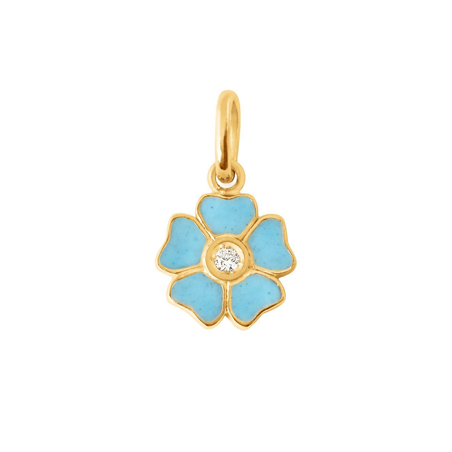 Gigi Clozeau - Flower Turquoise diamond pendant, Yellow Gold