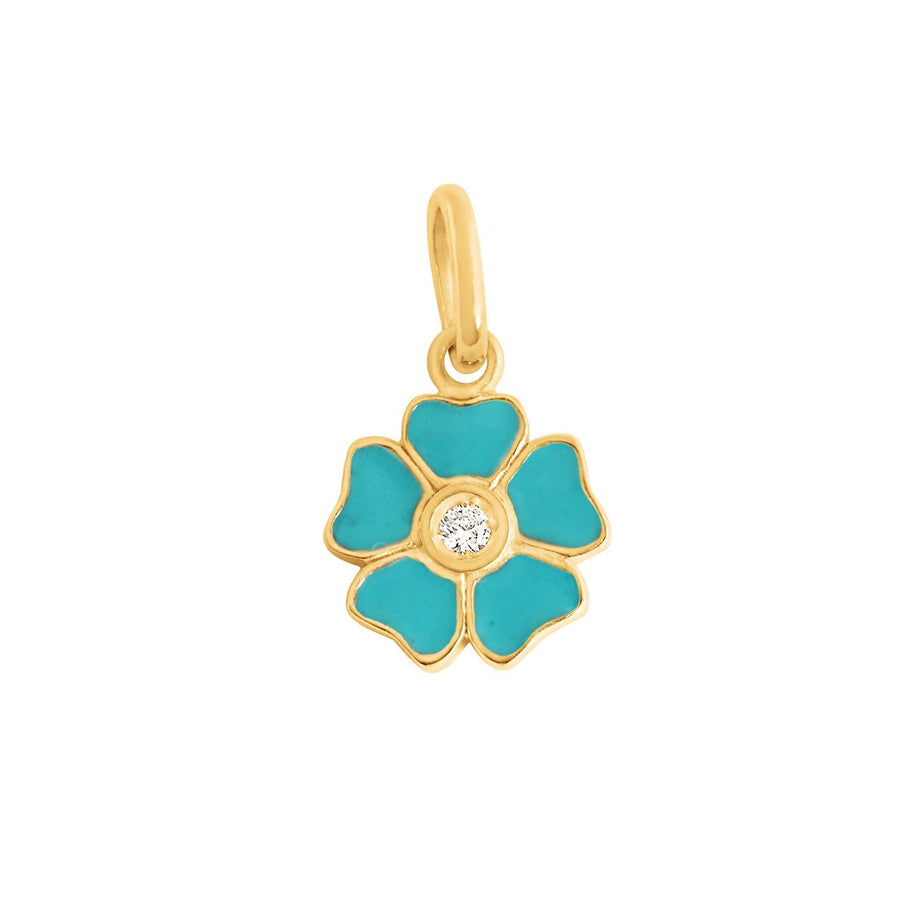 Gigi Clozeau - Flower Turquoise Green diamond pendant, Yellow Gold