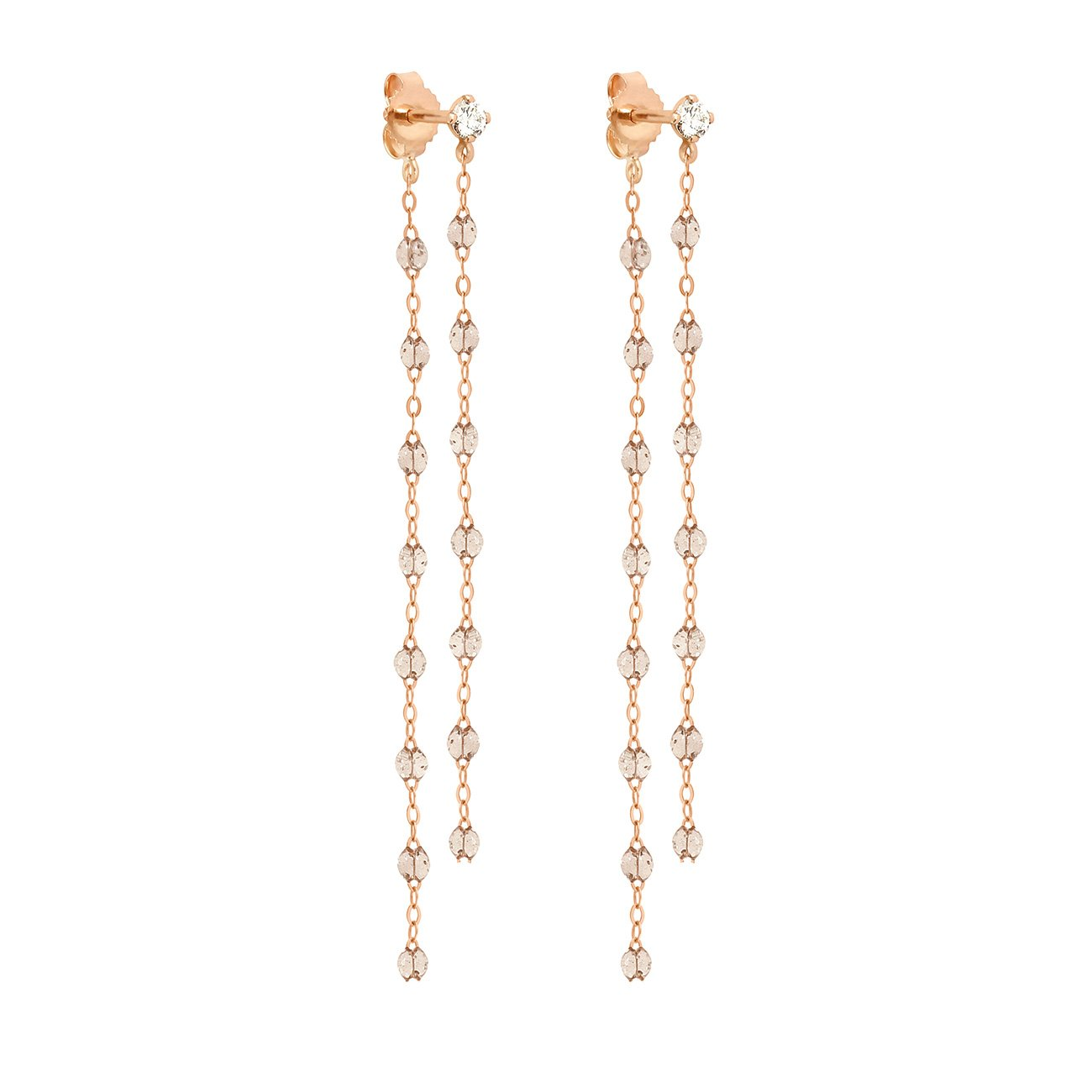 Gigi Clozeau - Classic Gigi dangling Sparkle diamonds earrings, Rose Gold