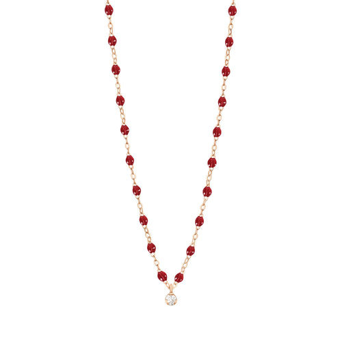 Gigi Clozeau - Gigi Supreme Classic 1 Diamond Necklace, Cherry, Rose Gold, 16.5