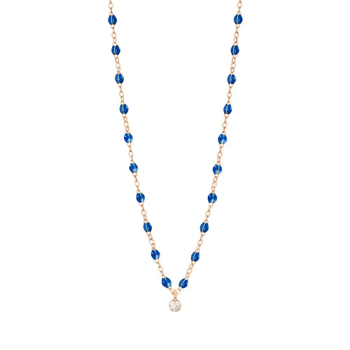Gigi Clozeau - Gigi Supreme Classic 1 Diamond Necklace, Sapphire, Rose Gold, 16.5