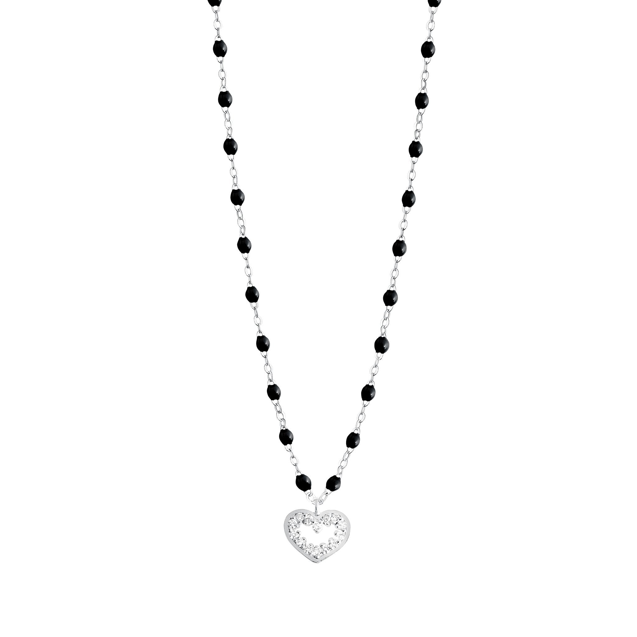 Gigi Clozeau - Heart Supreme Classic Gigi Black diamonds necklace, White Gold, 16.5""
