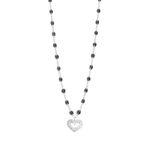 Gigi Clozeau - Heart Supreme Classic Gigi Black diamond necklace, White Gold, 16.5