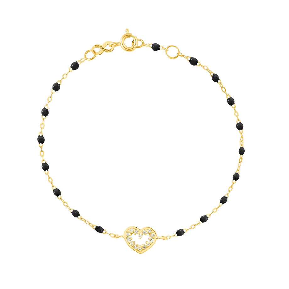 Gigi Clozeau - Heart Supreme Classic Gigi diamonds bracelet, Black, Yellow Gold, 6.7