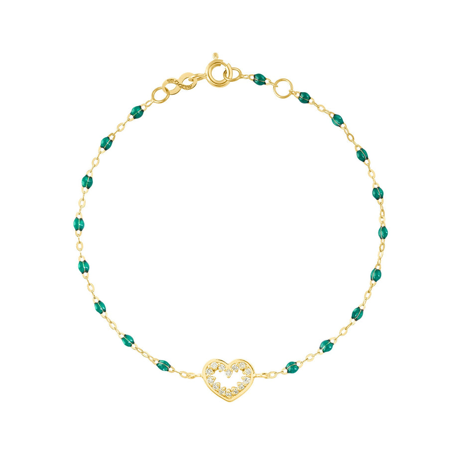 Gigi Clozeau - Heart Supreme Classic Gigi diamonds bracelet, Emerald, Yellow Gold, 6.7