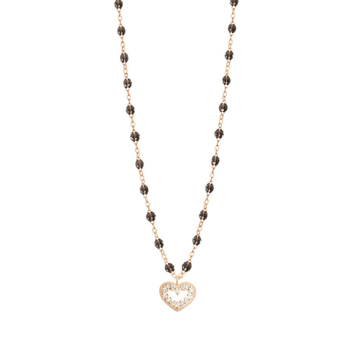 Gigi Clozeau - Heart Supreme Classic Gigi Quartz diamond necklace, Rose Gold, 16.5