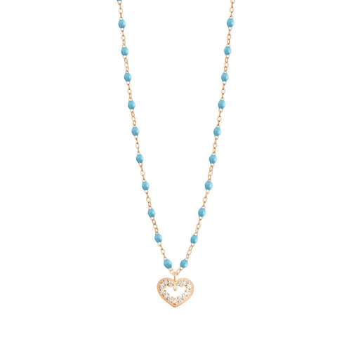 Gigi Clozeau - Heart Supreme Classic Gigi Turquoise diamond necklace, Rose Gold, 16.5