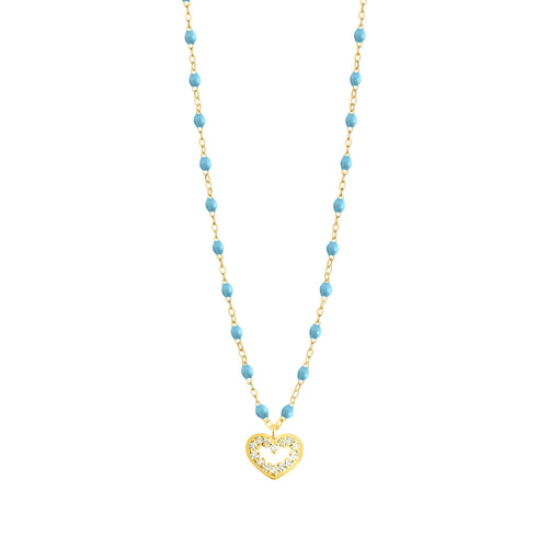 Gigi Clozeau - Heart Supreme Classic Gigi Turquoise diamond necklace, Yellow Gold, 16.5