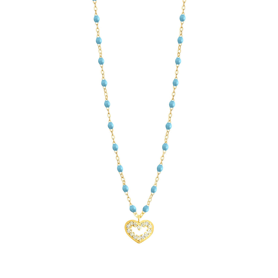 Gigi Clozeau - Heart Supreme Classic Gigi Turquoise diamonds necklace, Yellow Gold, 16.5