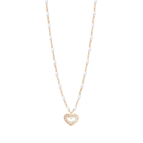 Gigi Clozeau - Heart Supreme Classic Gigi White diamond necklace, Rose Gold, 16.5