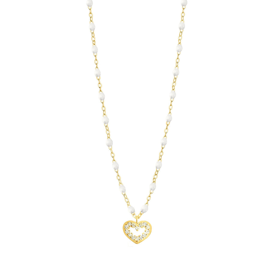 Gigi Clozeau - Heart Supreme Classic Gigi White diamonds necklace, Yellow Gold, 16.5