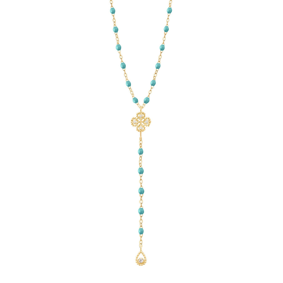 Gigi Clozeau - Lucky Classic Gigi Turquoise Green diamonds rosary, Yellow Gold, 17.7