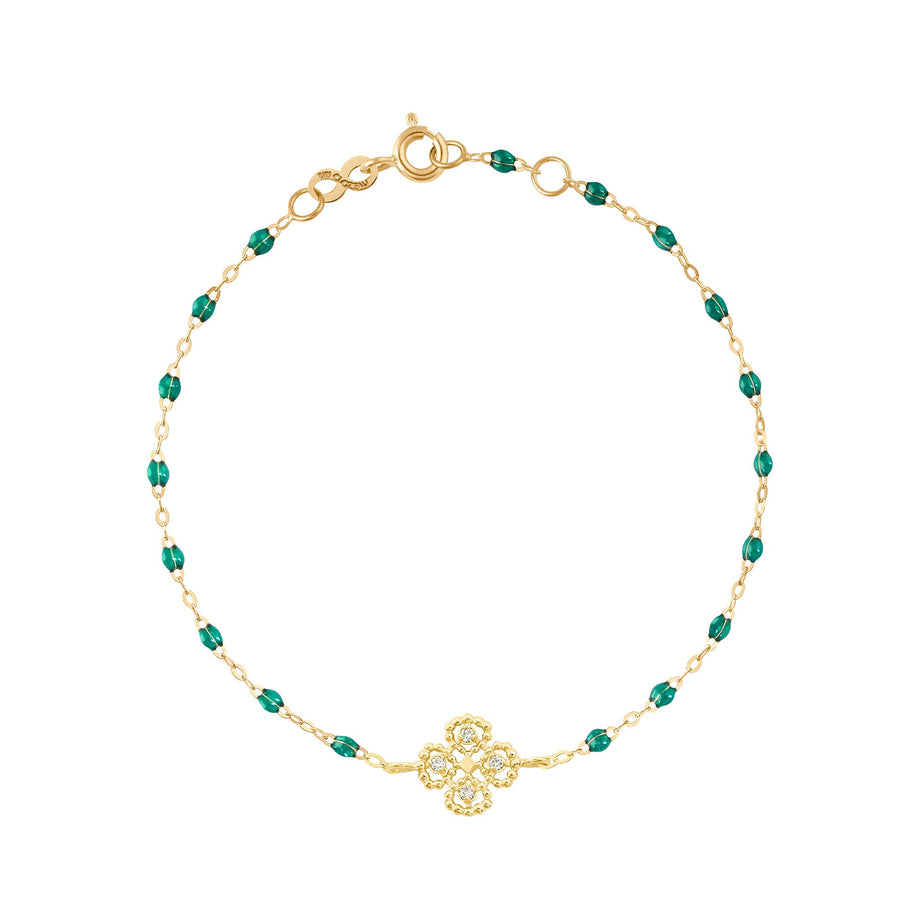 Gigi Clozeau - Lucky Clover Classic Gigi Emerald Diamonds Bracelet, Yellow Gold, 6.7