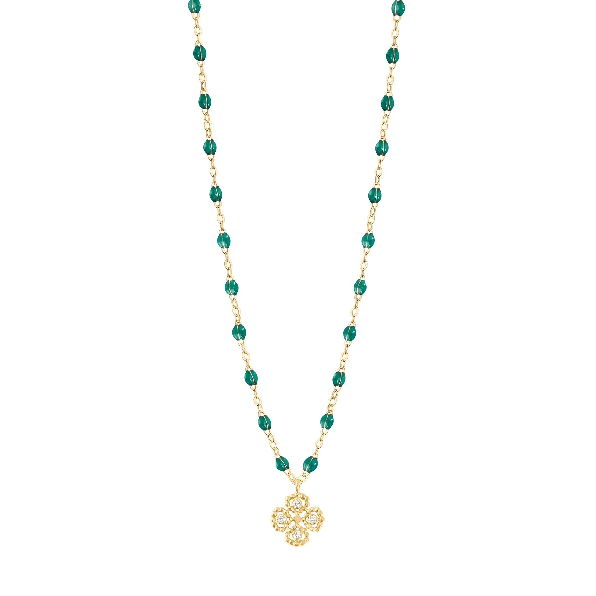 Gigi Clozeau - Lucky Clover Classic Gigi Emerald diamonds necklace, Yellow Gold, 16.5