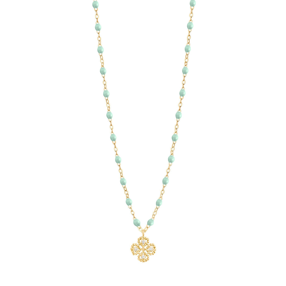 Gigi Clozeau - Lucky Clover Classic Gigi Jade diamonds necklace, Yellow Gold, 16.5
