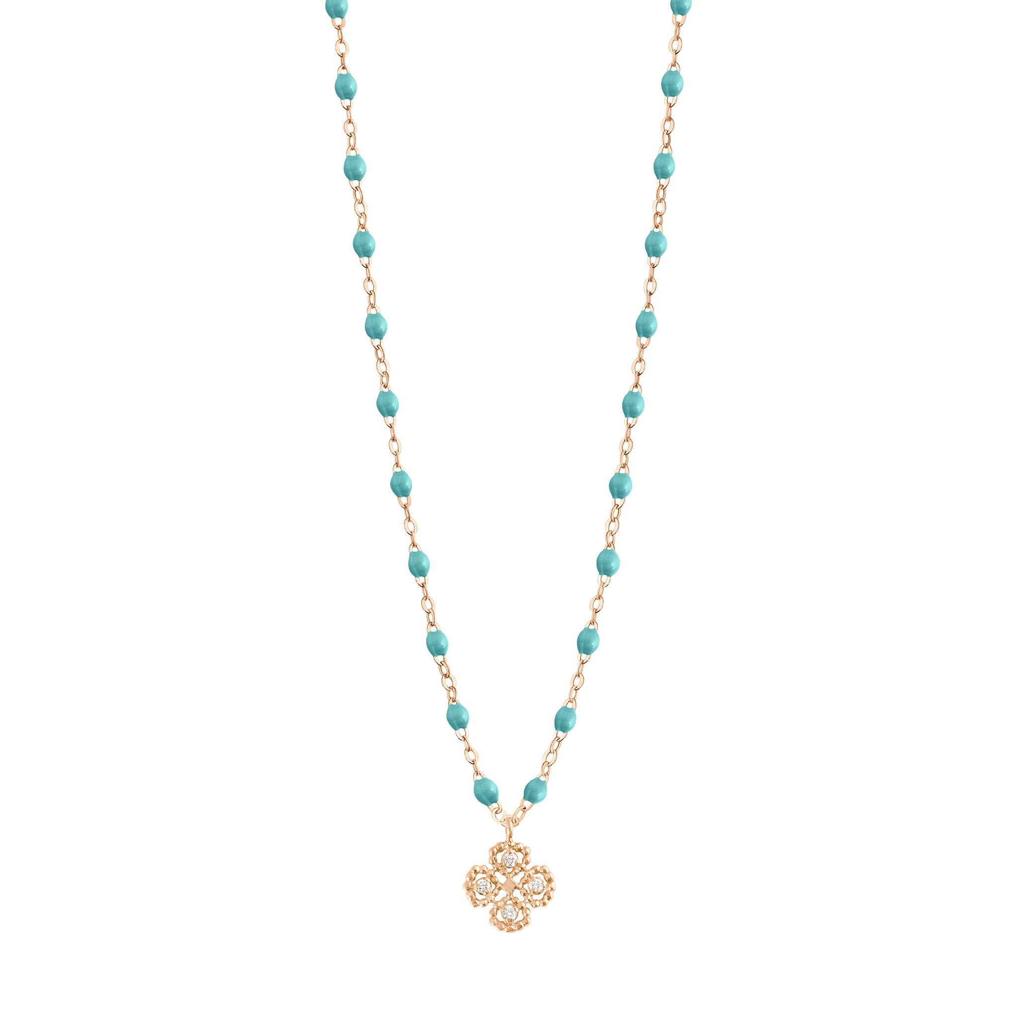 Gigi Clozeau - Lucky Clover Classic Gigi Turquoise Green diamond necklace, Rose Gold, 16.5""