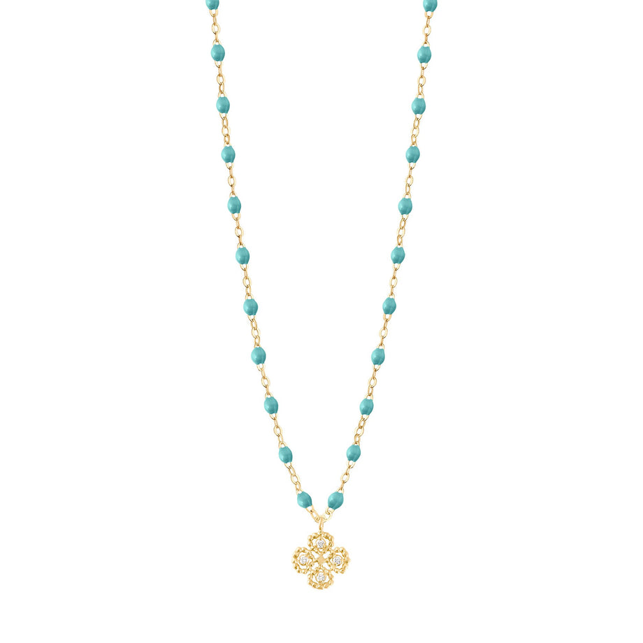 Gigi Clozeau - Lucky Clover Classic Gigi Turquoise Green diamonds necklace, Yellow Gold, 16.5