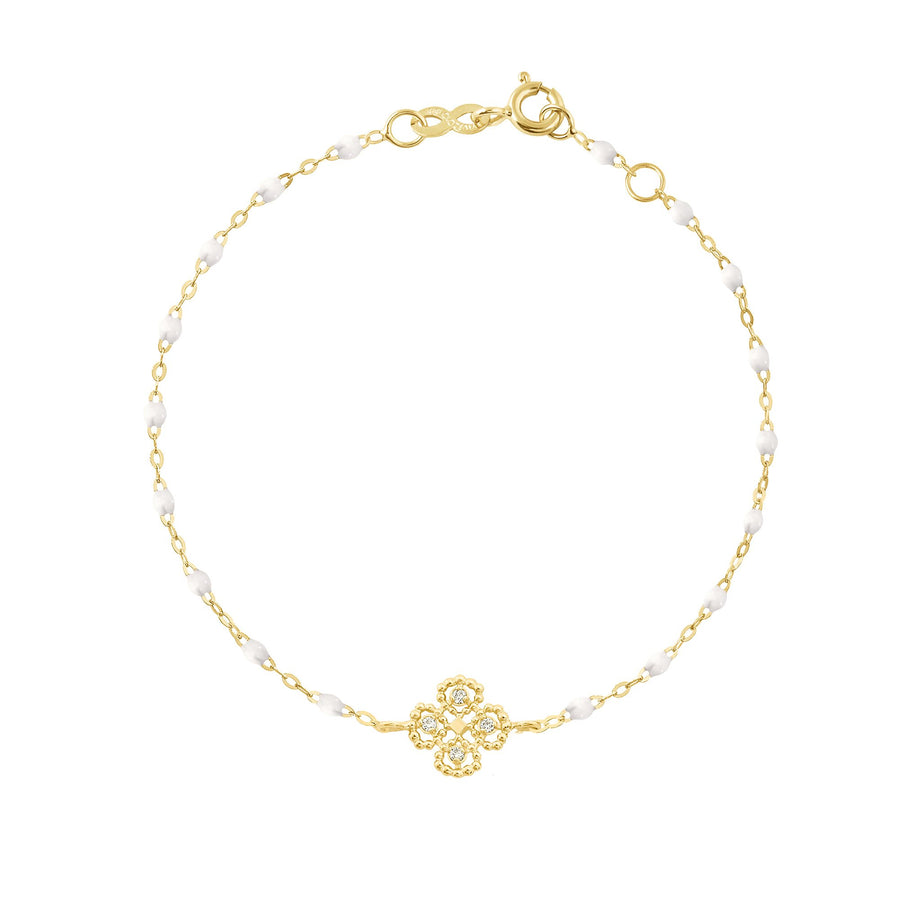 Gigi Clozeau - Lucky Clover Classic Gigi White Diamonds Bracelet, Yellow Gold, 6.7