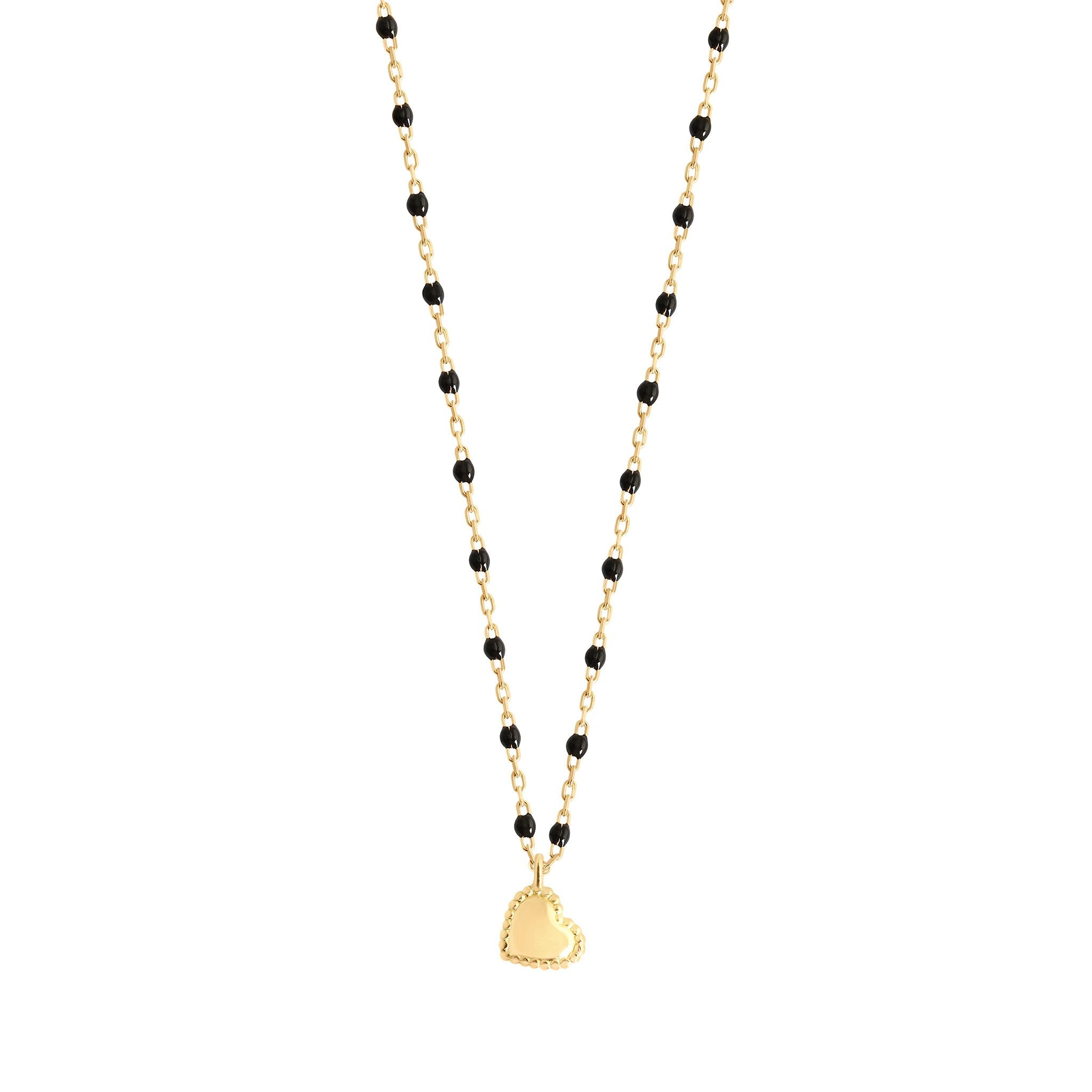 Gigi Clozeau - Lucky Heart Mini Gigi Black necklace, Yellow Gold, 15.7""