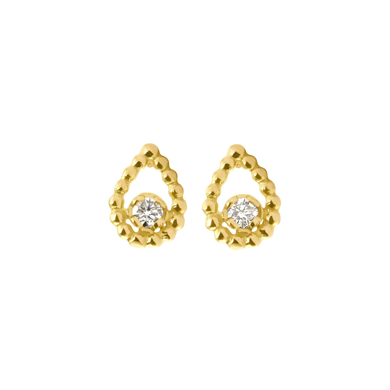 Gigi Clozeau - Lucky Lotus diamonds earrings, Yellow Gold