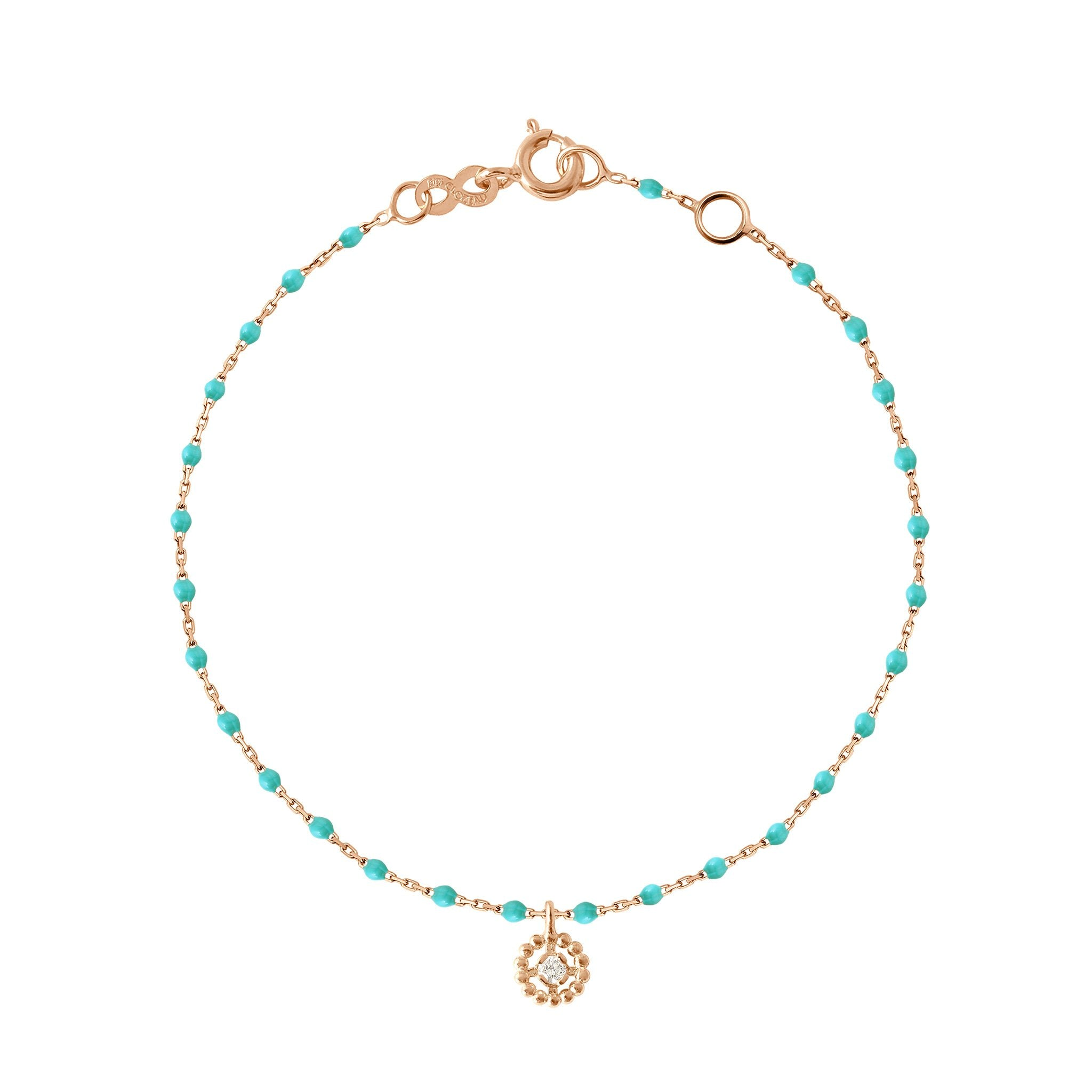 Gigi Clozeau - Lucky Puce Mini Gigi Turquoise Green diamonds bracelet, Rose Gold, 6.7""