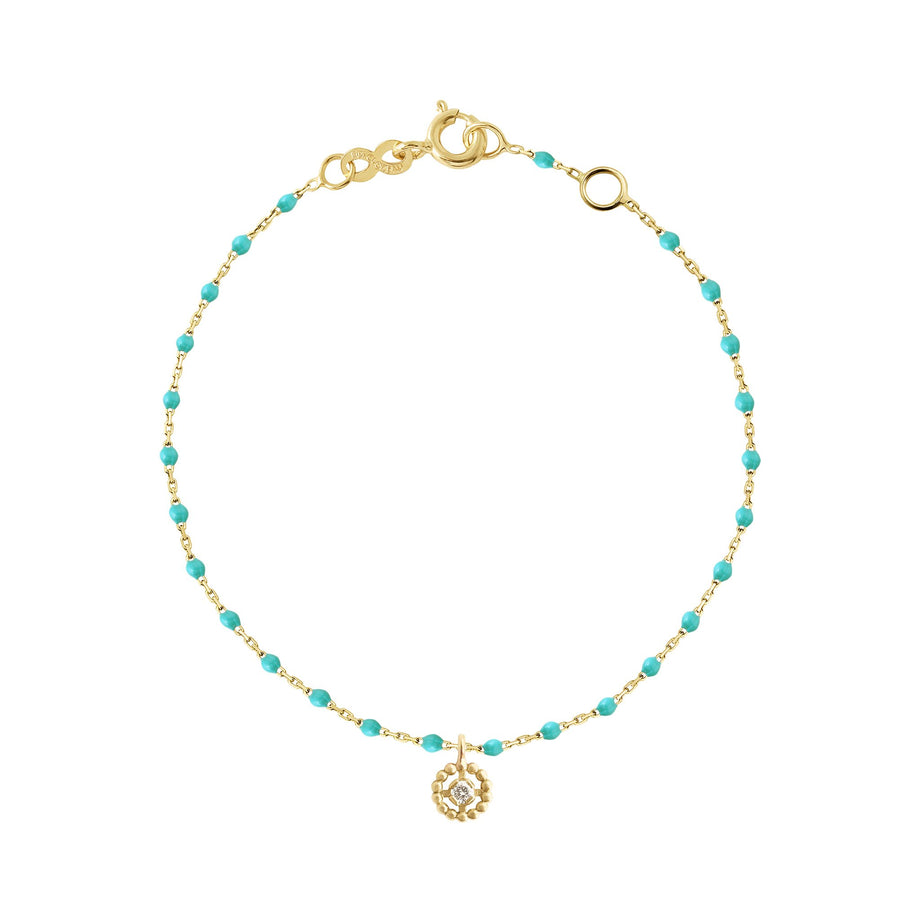 Gigi Clozeau - Lucky Puce Mini Gigi Turquoise Green diamonds bracelet, Yellow Gold, 6.7