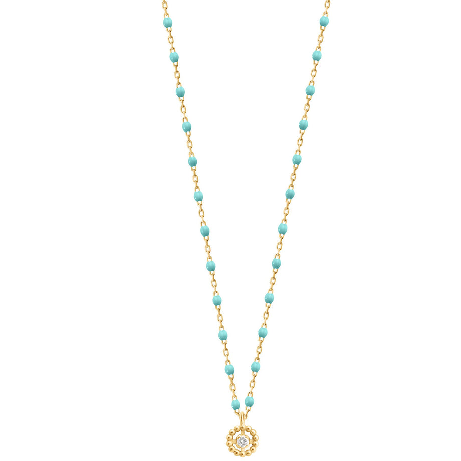 Gigi Clozeau - Lucky Puce Mini Gigi Turquoise Green diamonds necklace, Yellow Gold, 16.5
