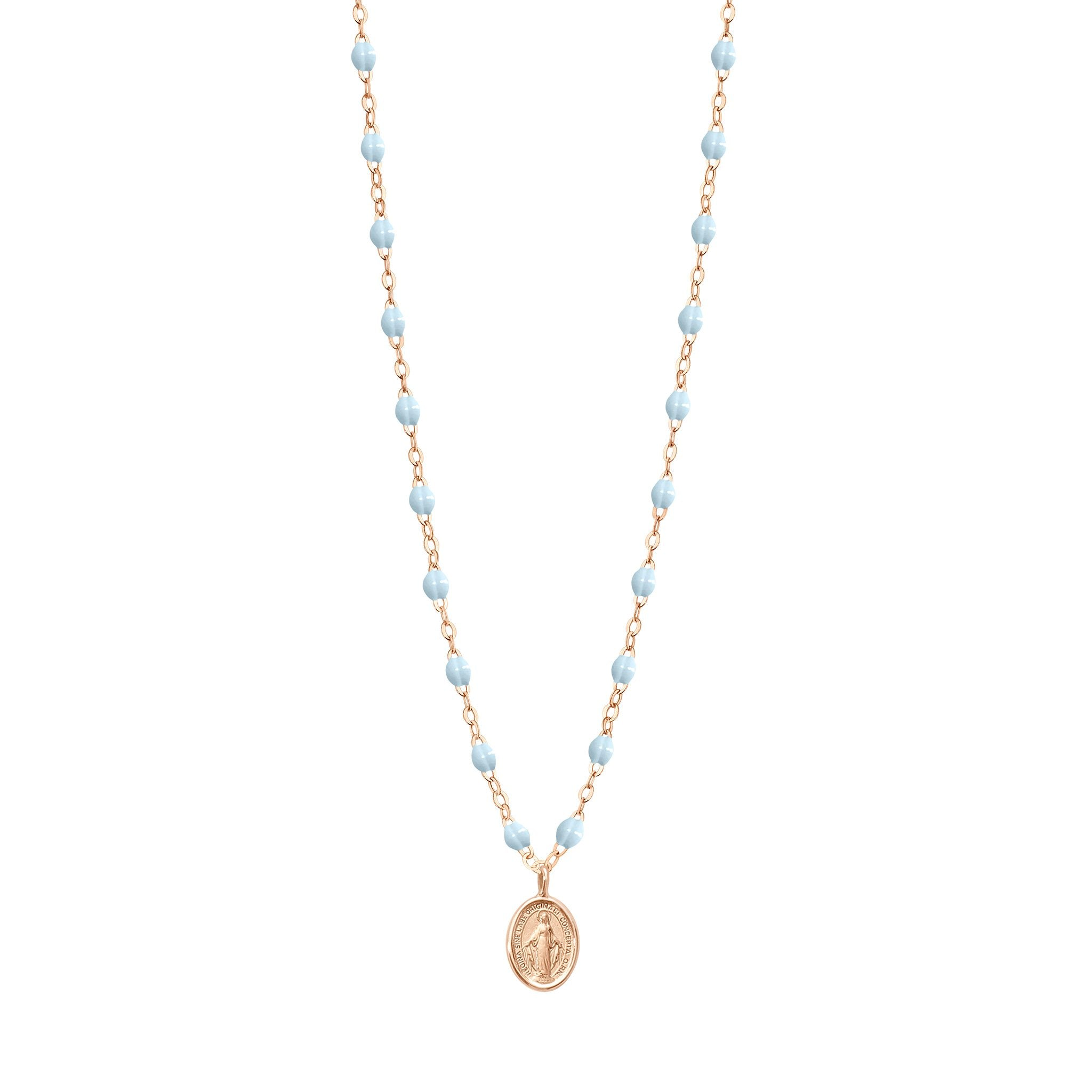 Gigi Clozeau - Madone Charm Classic Gigi Baby Blue necklace, Rose Gold, 16.5""
