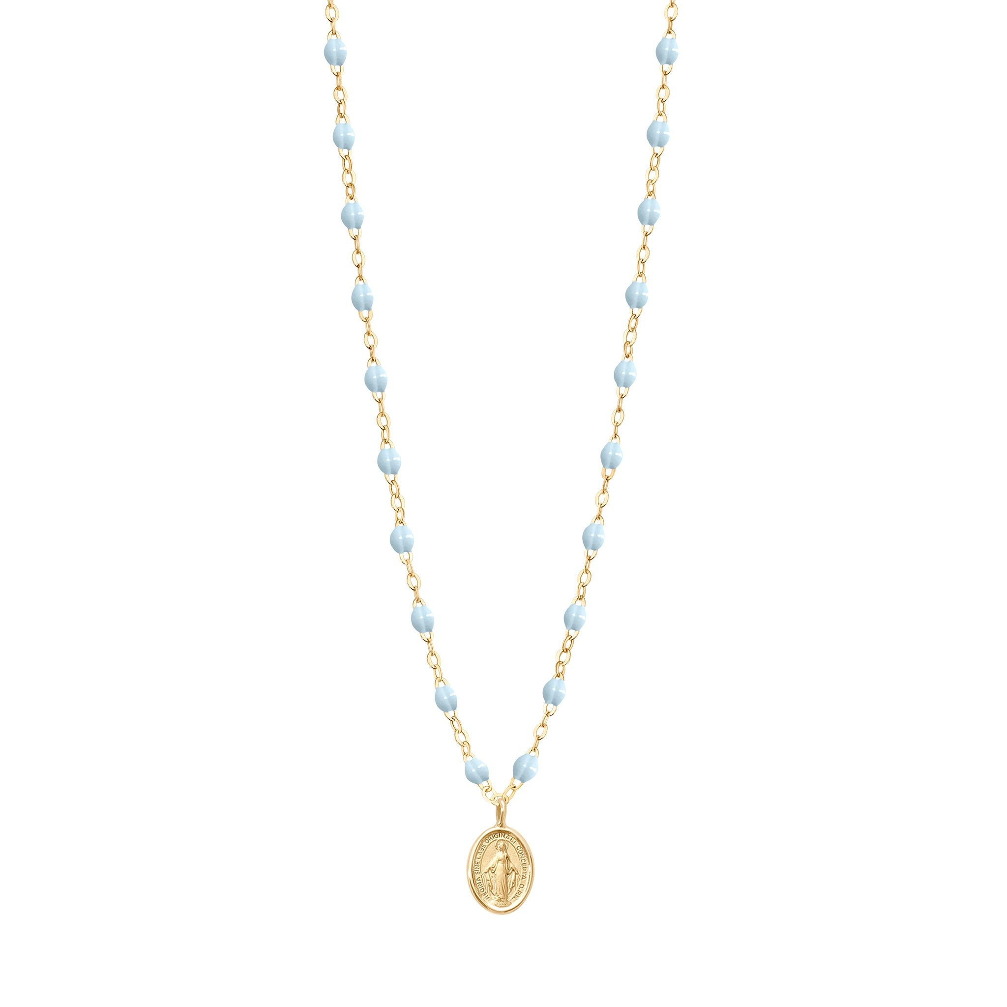 Gigi Clozeau - Madone Charm Classic Gigi Baby Blue necklace, Yellow Gold, 16.5