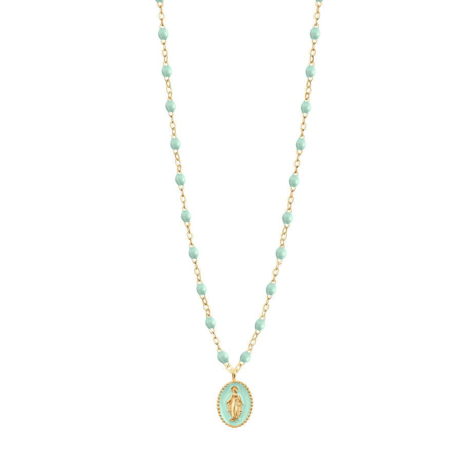 Gigi Clozeau - Madone resin charm Classic Gigi Jade necklace, Yellow Gold, 16.5