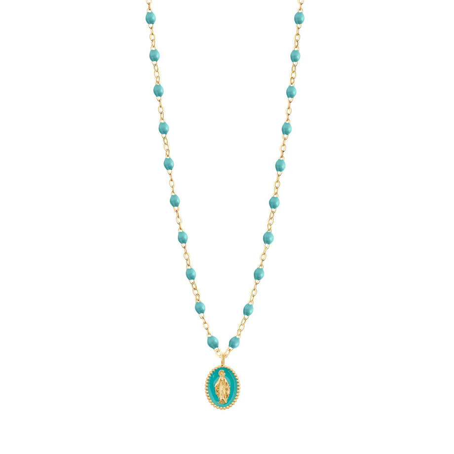 Gigi Clozeau - Madone resin charm Classic Gigi Turquoise Green necklace, Yellow Gold, 16.5