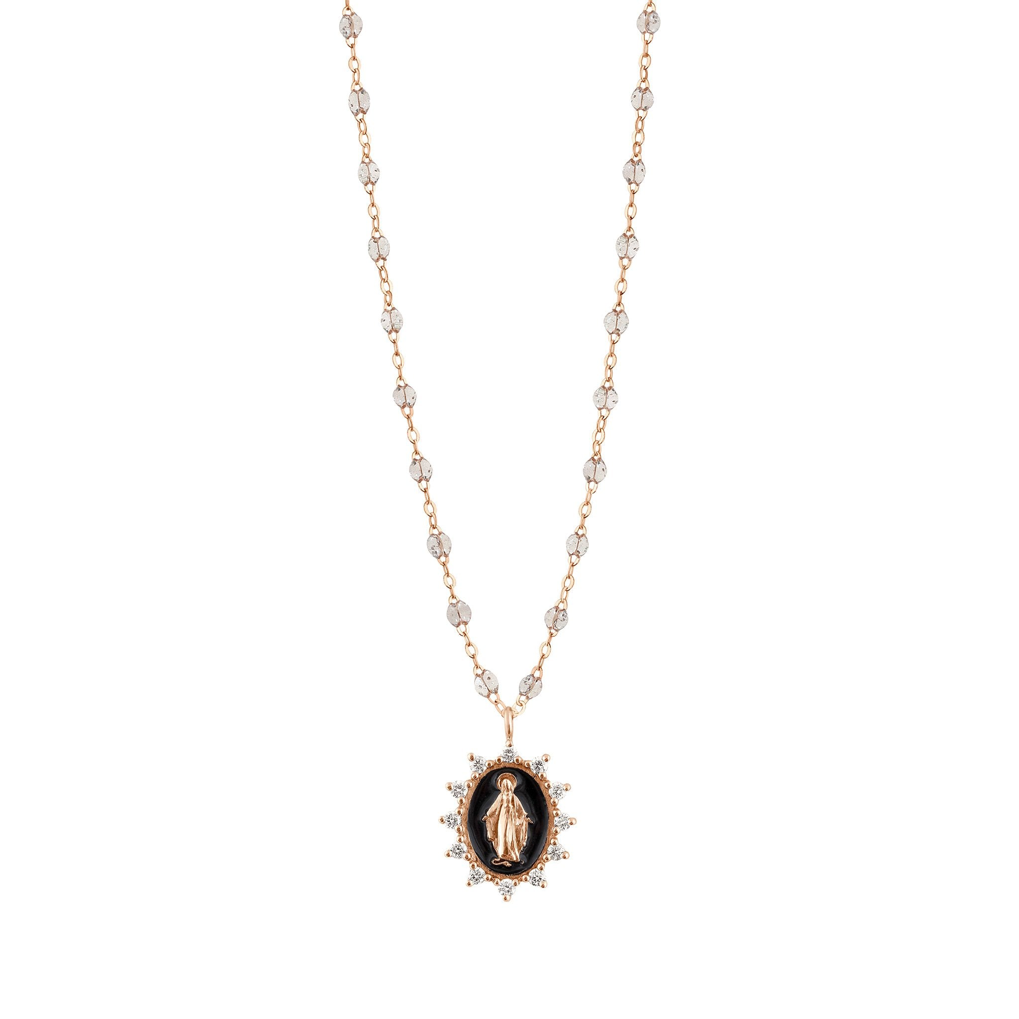 Gigi Clozeau - Madone Supreme sparkle Black diamond necklace, Rose Gold, 19.7""
