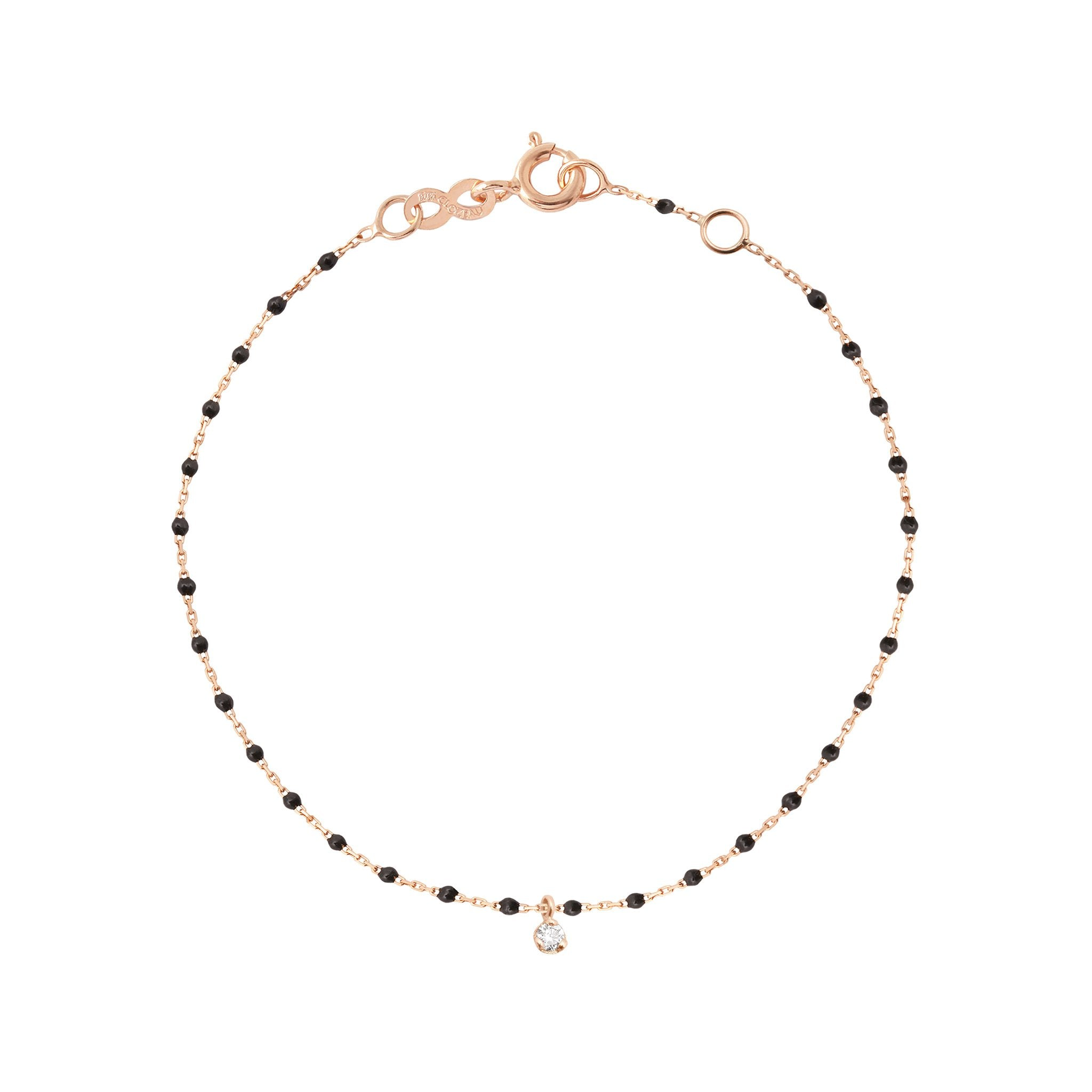 Gigi Clozeau - Mini Gigi Black bracelet, Rose Gold 1 Diamond, 6.7