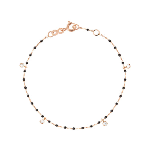 Gigi Clozeau - Mini Gigi Black bracelet, Rose Gold 4 Diamonds, 6.7