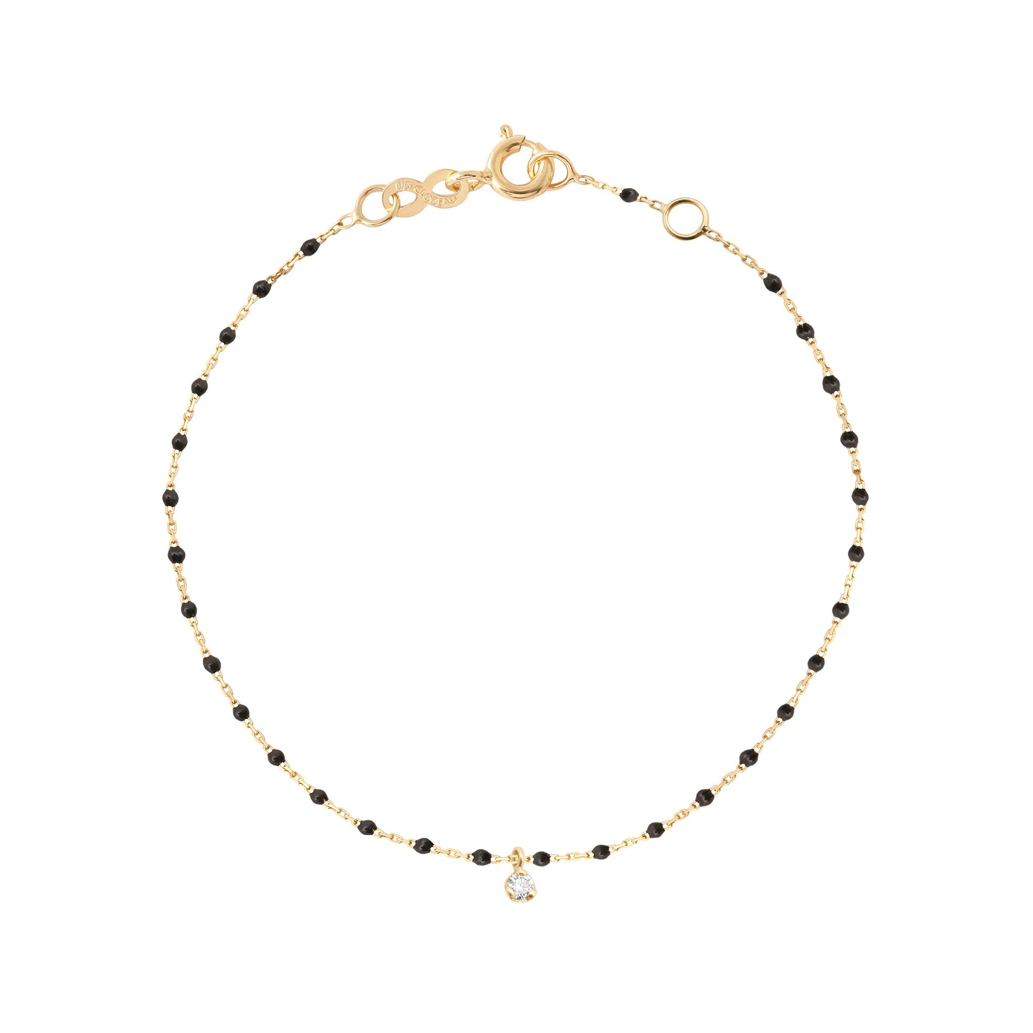 Gigi Clozeau - Mini Gigi Black bracelet, Yellow Gold 1 Diamond, 6.7""
