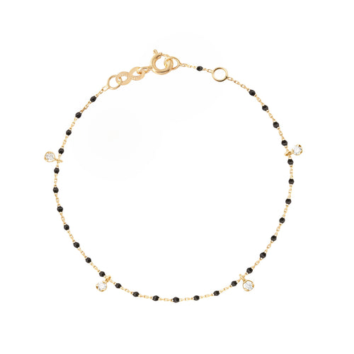 Gigi Clozeau - Mini Gigi Black bracelet, Yellow Gold 4 Diamonds, 6.7