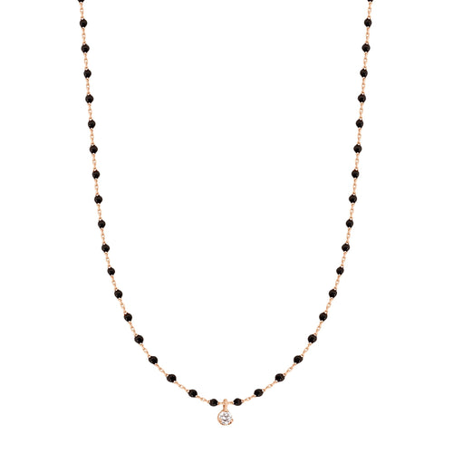Gigi Clozeau - Mini Gigi Black necklace, Rose Gold 1 Diamond, 15.7