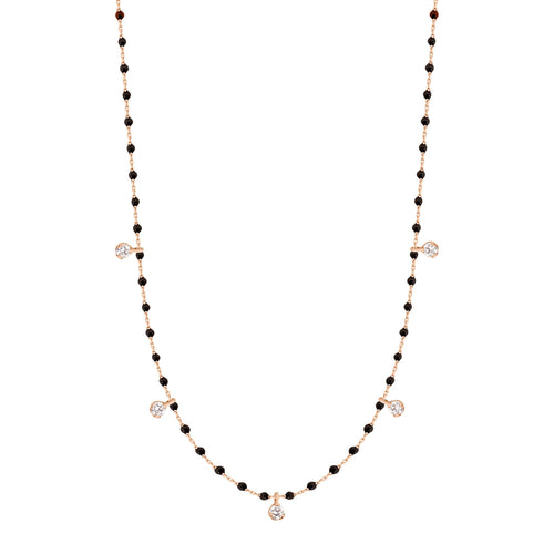 Gigi Clozeau - Mini Gigi Black necklace, Rose Gold 5 Diamonds, 21.7