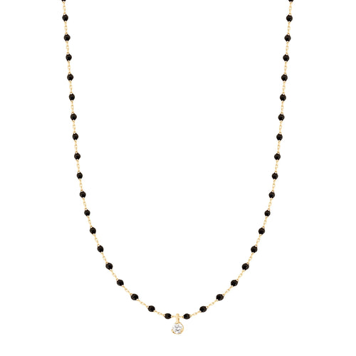 Gigi Clozeau - Mini Gigi Black necklace, Yellow Gold 1 Diamond, 15.7