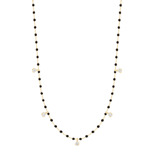 Gigi Clozeau - Mini Gigi Black necklace, Yellow Gold 5 Diamonds, 21.7