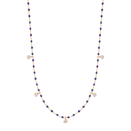 Gigi Clozeau - Mini Gigi Lapis necklace, Rose Gold 5 Diamonds, 21.7