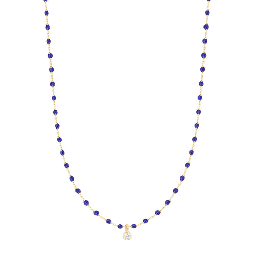 Gigi Clozeau - Mini Gigi Lapis necklace, Yellow Gold 1 Diamond, 15.7