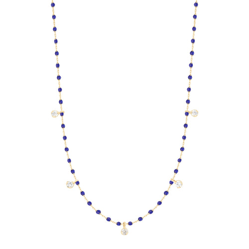 Gigi Clozeau - Mini Gigi Lapis necklace, Yellow Gold 5 Diamonds, 21.7