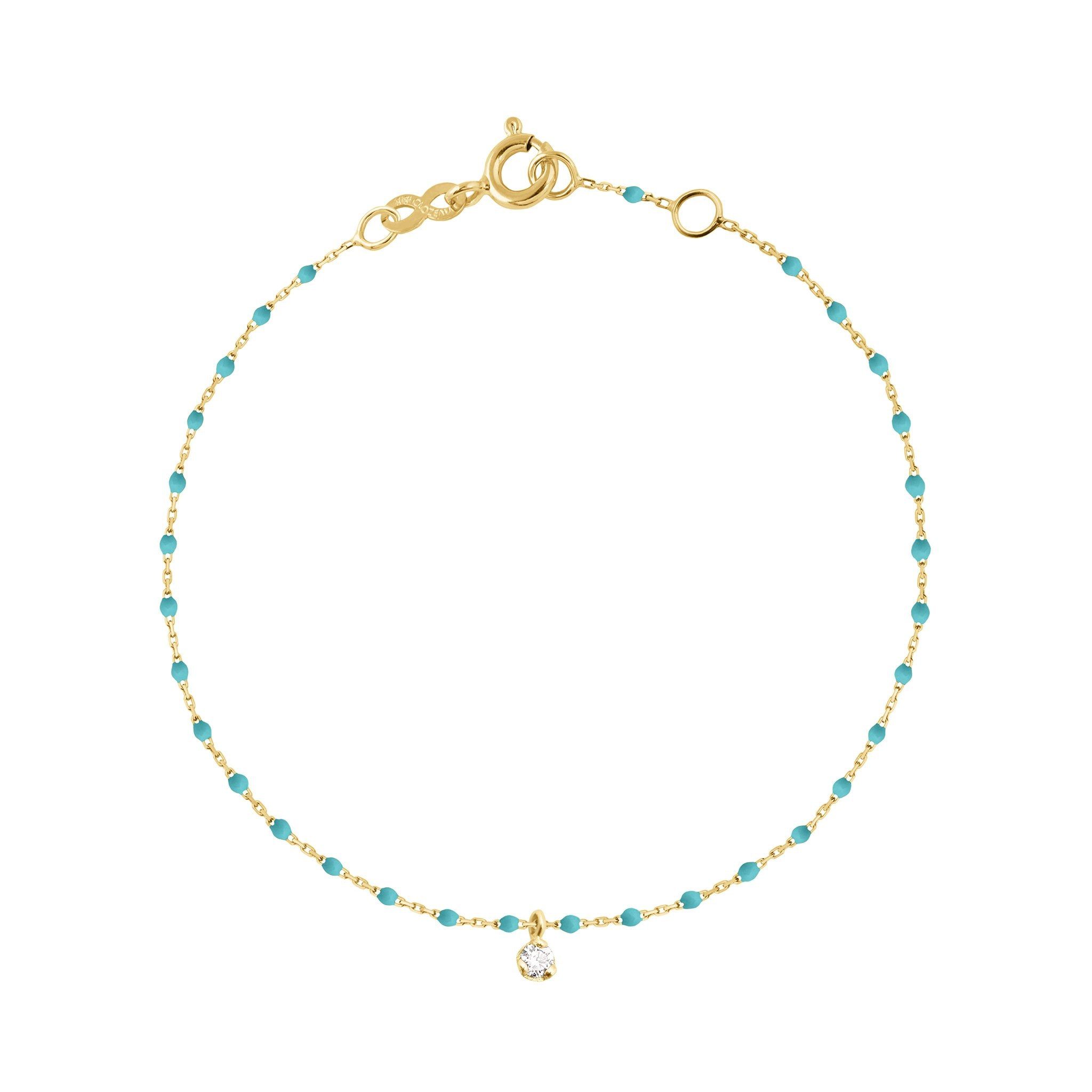 Gigi Clozeau - Mini Gigi Turquoise Green bracelet, Yellow Gold 1 Diamond, 6.7