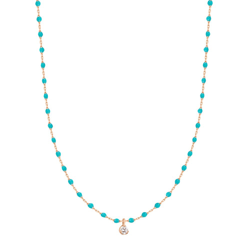 Gigi Clozeau - Mini Gigi Turquoise Green necklace, Rose Gold 1 Diamond, 15.7