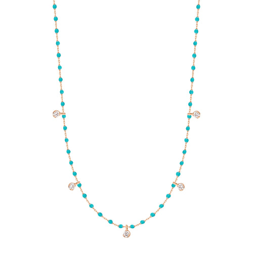 Gigi Clozeau - Mini Gigi Turquoise Green necklace, Rose Gold 5 Diamonds, 21.7