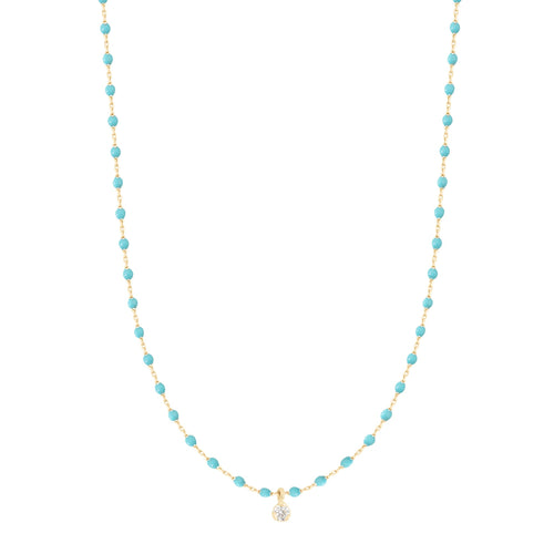 Gigi Clozeau - Mini Gigi Turquoise Green necklace, Yellow Gold 1 Diamond, 15.7